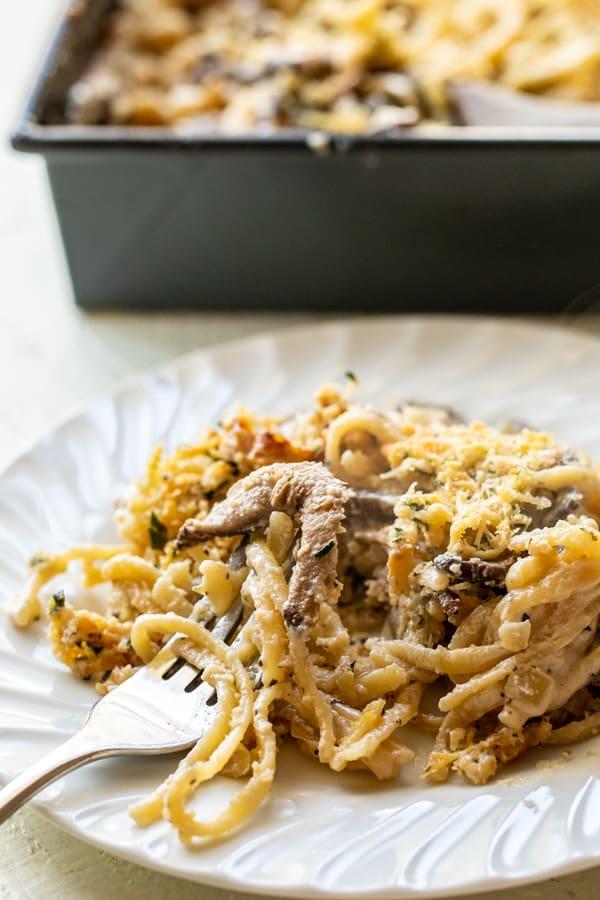 Baked Mushroom Tetrazzini with Parmesan Topper