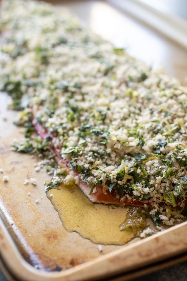 Salmon herb-crusted with panko and lemon.