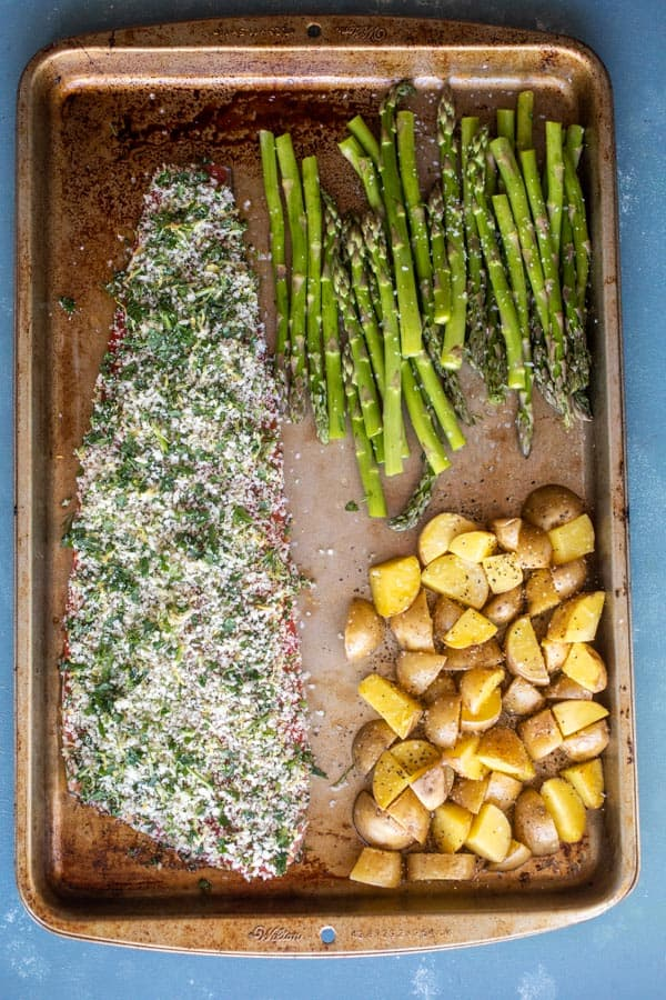 Sheet Pan Herb Crusted Salmon