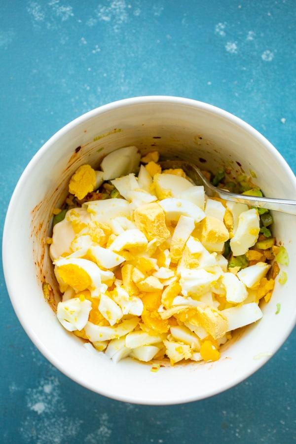 Rough chopped eggs for egg salad