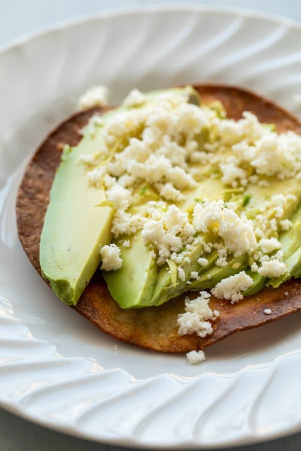 Basic toppings for breakfast tostadas