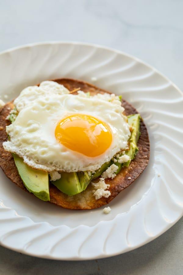 Egg on top of tostada