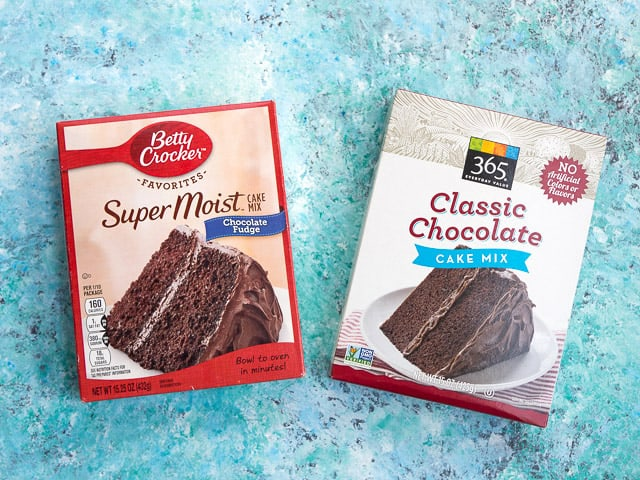 A side-by-side comparison of Betty Crocker and 365 chocolate cake mixes