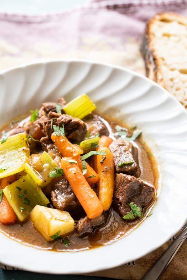 Beer Braised Beef Stew with Pantry Vegetables