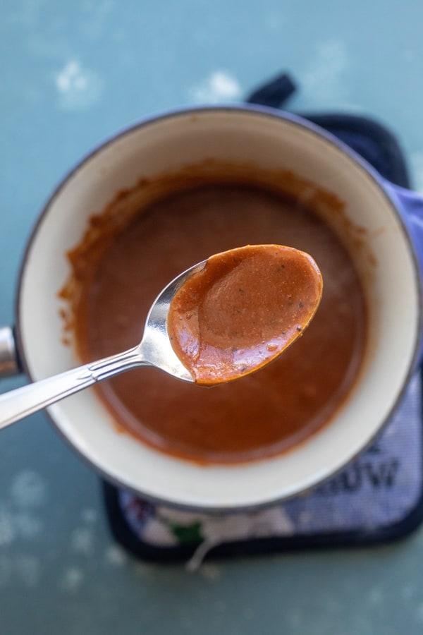 Delicious sauce for enchiladas for two!