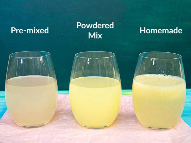 A side-by-side comparison of 3 different lemonades