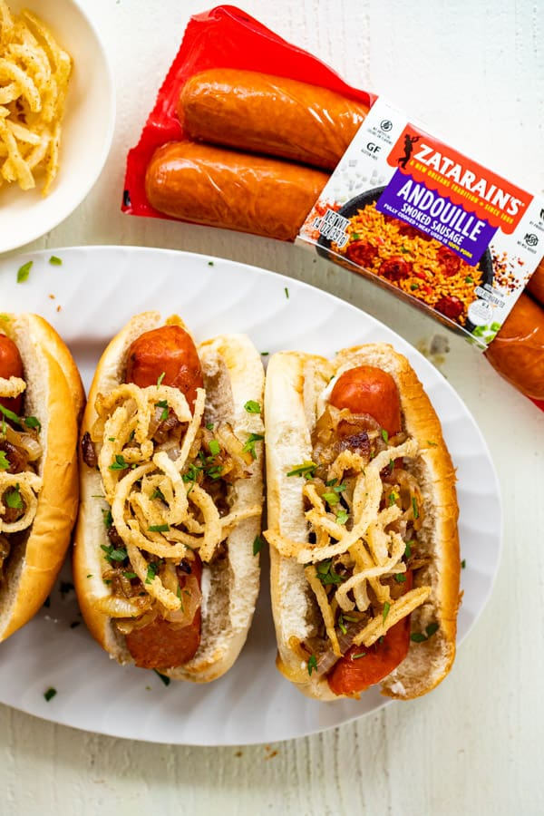 Sausage Dogs with Caramelized Onions