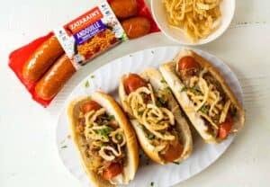 Caramelized Onion Sausage Dogs