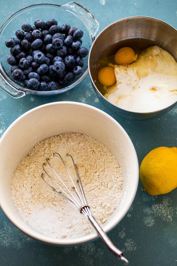 Pancake batter basics in bowls.