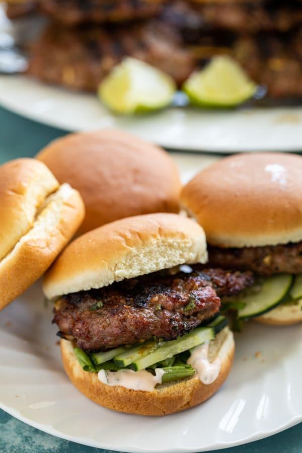 Pork Meatball Sliders on buns.