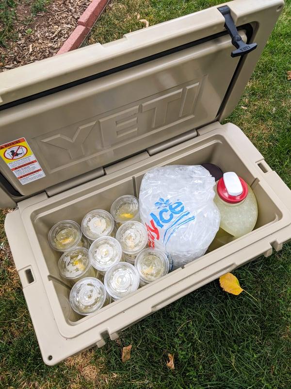 Individually packaged lemonades.
