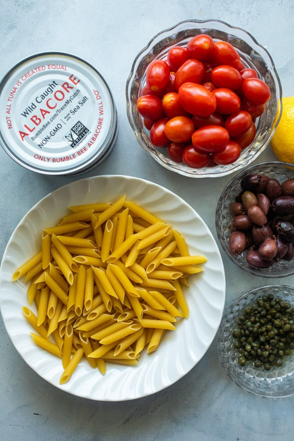 Basic ingredients for penne puttanesca