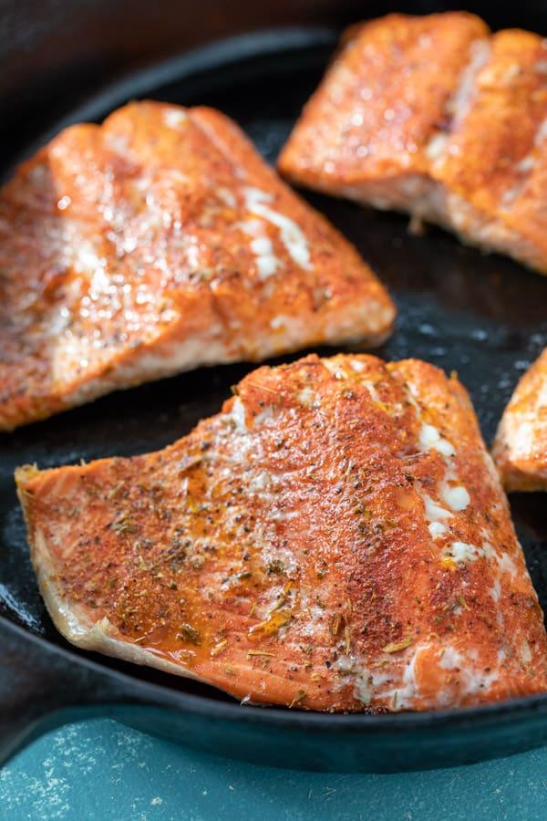 Baked Blackened Salmon in Cast Iron