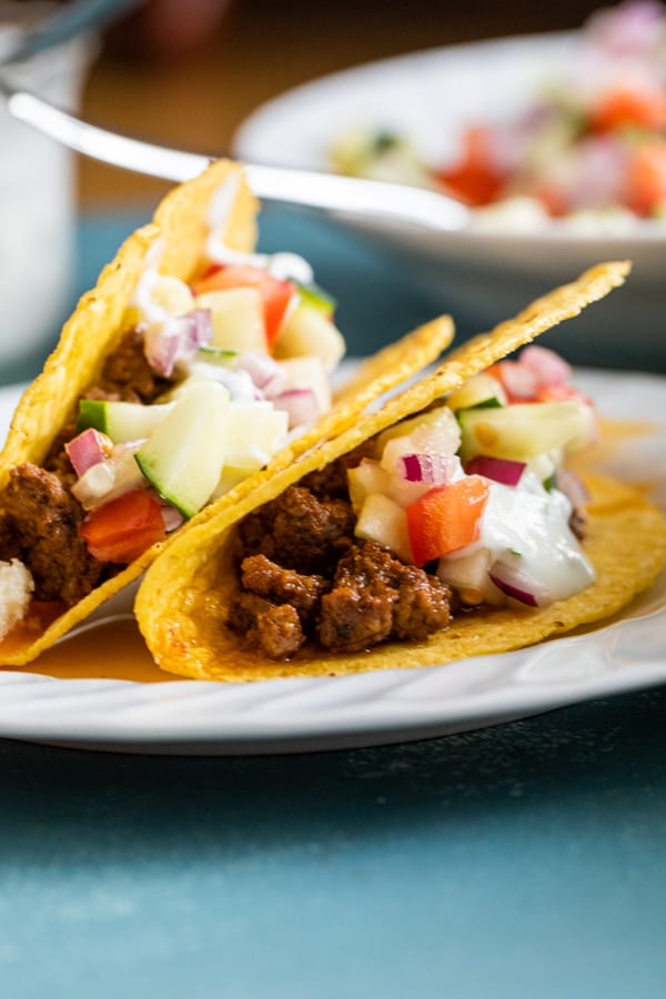 Lamb Hard Tacos with Cucumber Salsa