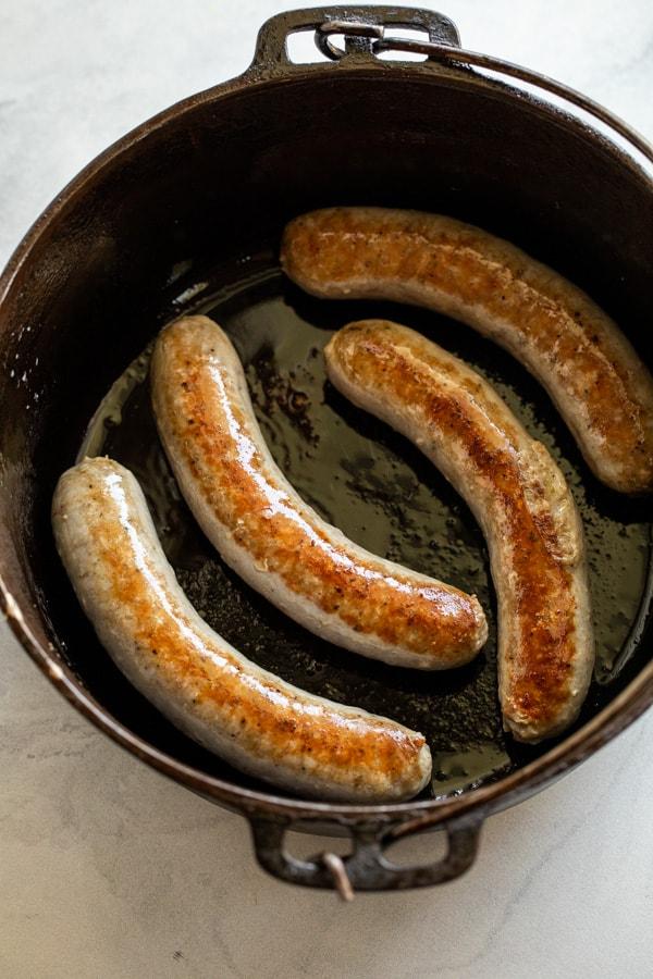 Searing sausage for braised dish