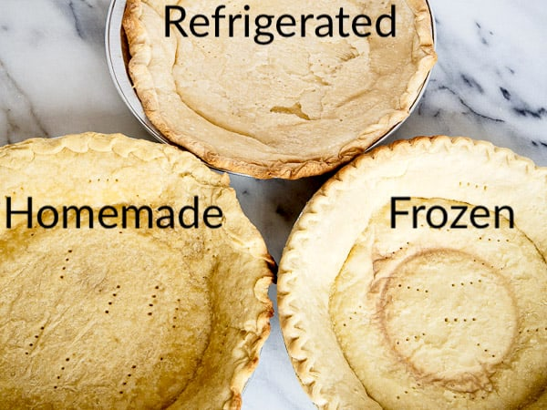 A side-by-side comparison of 3 different pie crusts