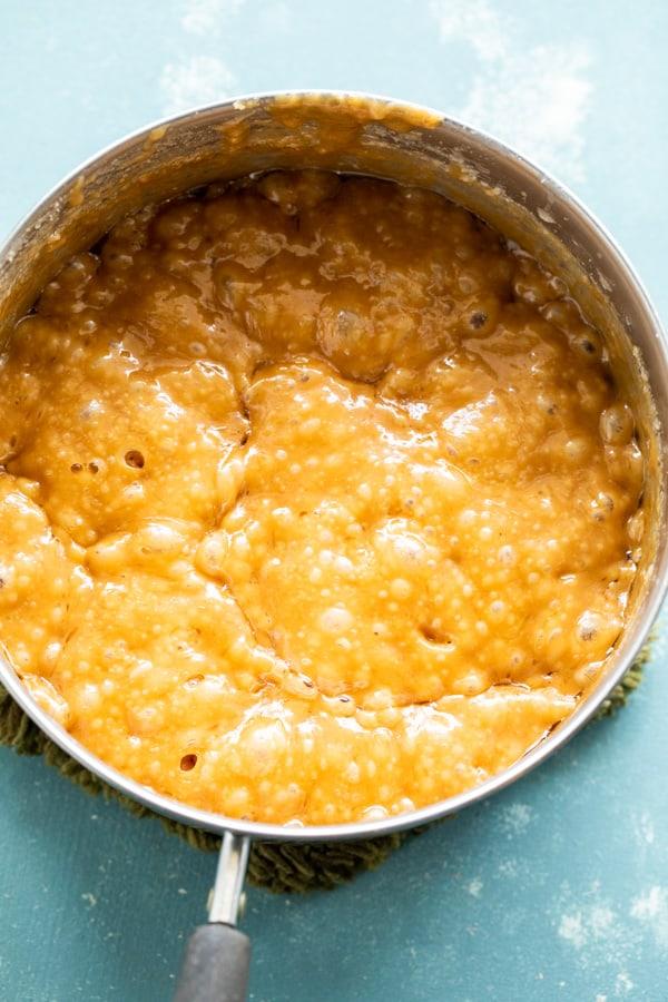 Caramel sauce getting made.