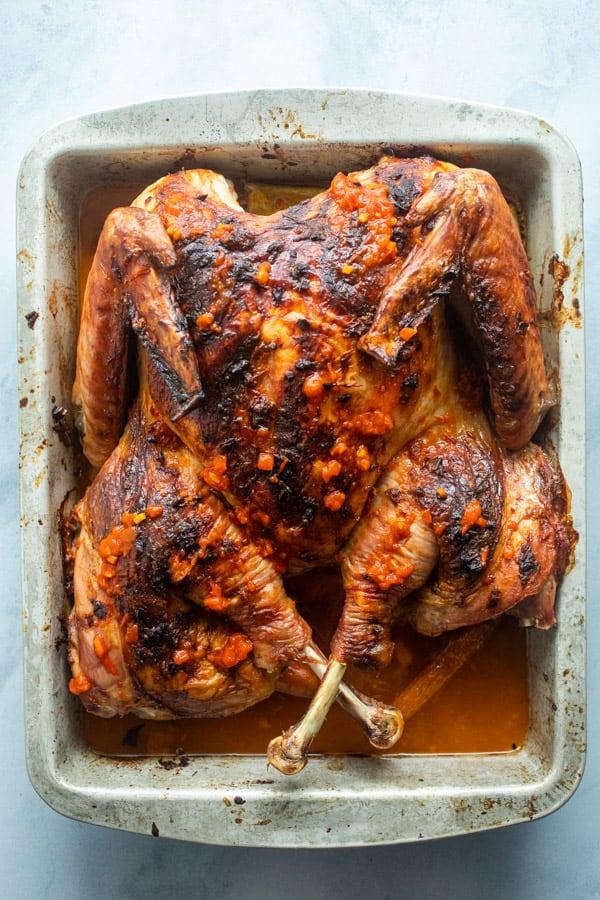 Finished Harissa Spatchcock Turkey