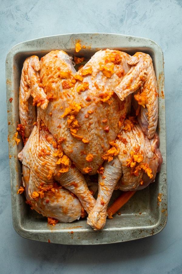 Harissa Butter on Spatchcock Turkey