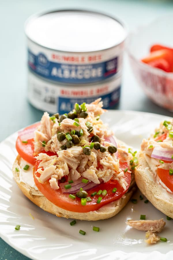 Tuna Breakfast Bagels with Capers