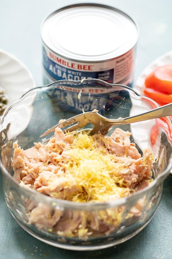 Tuna mixed with lemon zest.