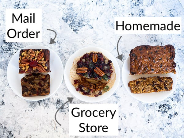 A side-by-side comparison of 3 different fruitcakes