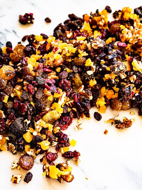 A mixture of chopped dried fruits and nuts