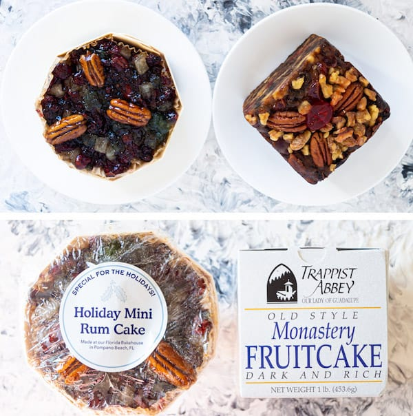 A side-by-side comparison of 2 store-bought fruitcakes