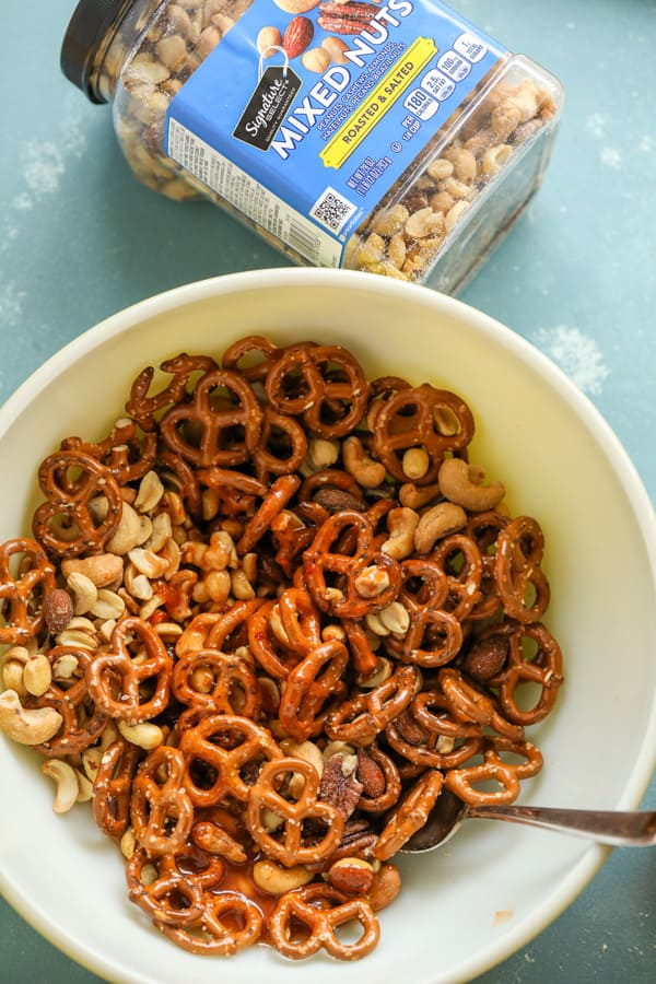 Mixing the Snack mix together