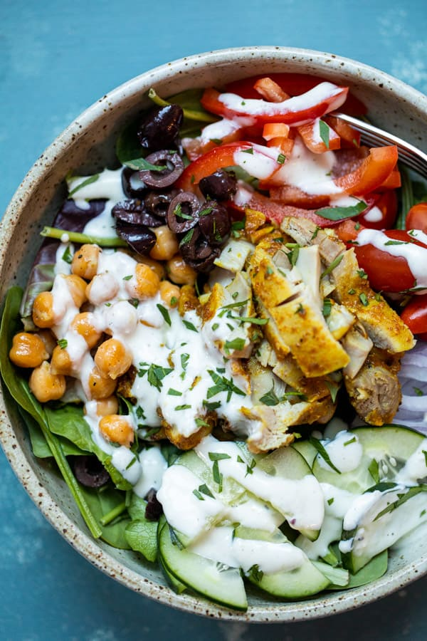 Chicken Shawarma Bowls with Roasted Garlic Dressing