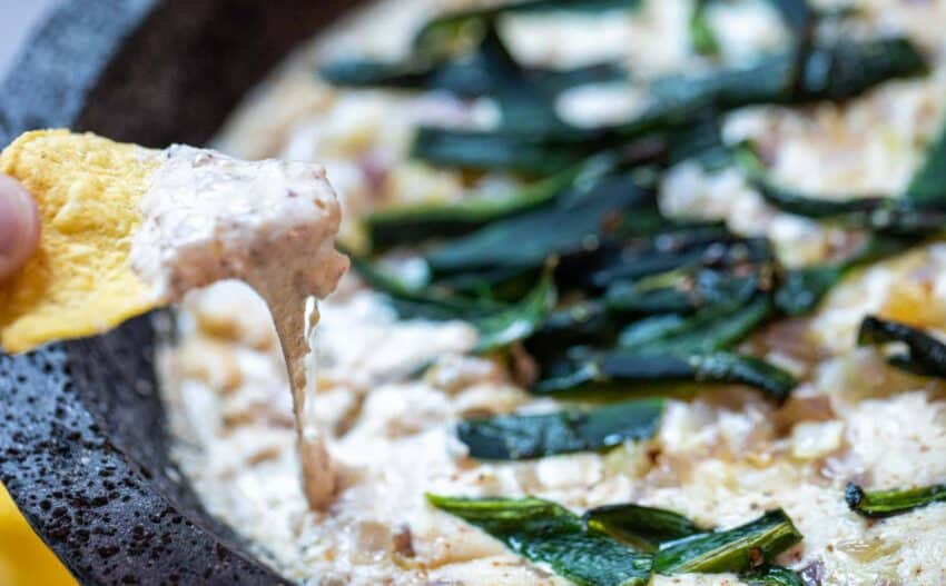 Queso Molcajete with Roasted Poblanos
