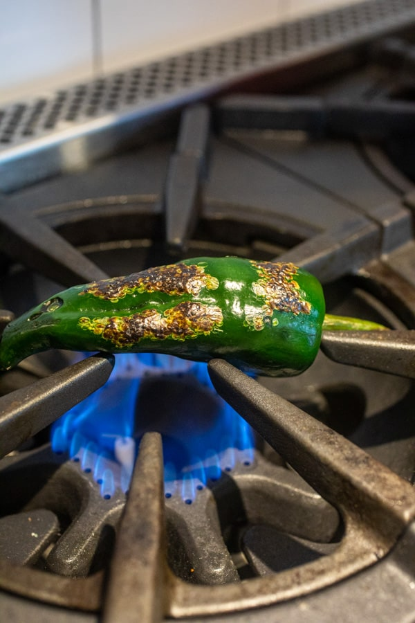 Roasted Poblanos on the stove.