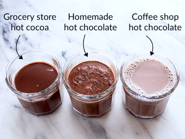 A side-by-side comparison of 3 different hot chocolate drinks