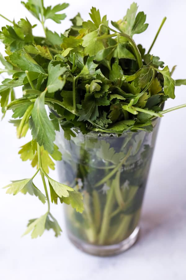 Herb Storage in pint glass after 6 weeks.