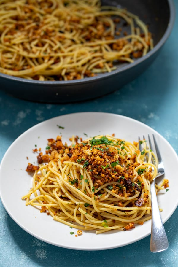 Spaghetti with Chili Crisp Breadcrumbs
