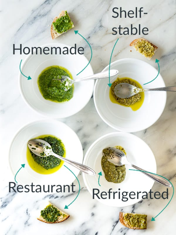 A side-by-side comparison of 4 different pesto options
