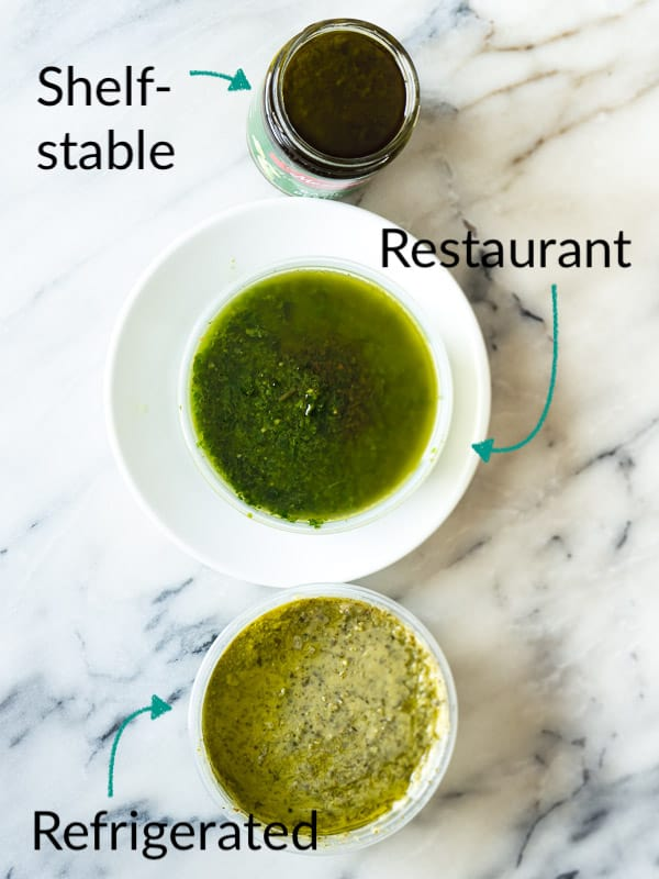 A side-by-side comparison of 3 different store-bought pesto options