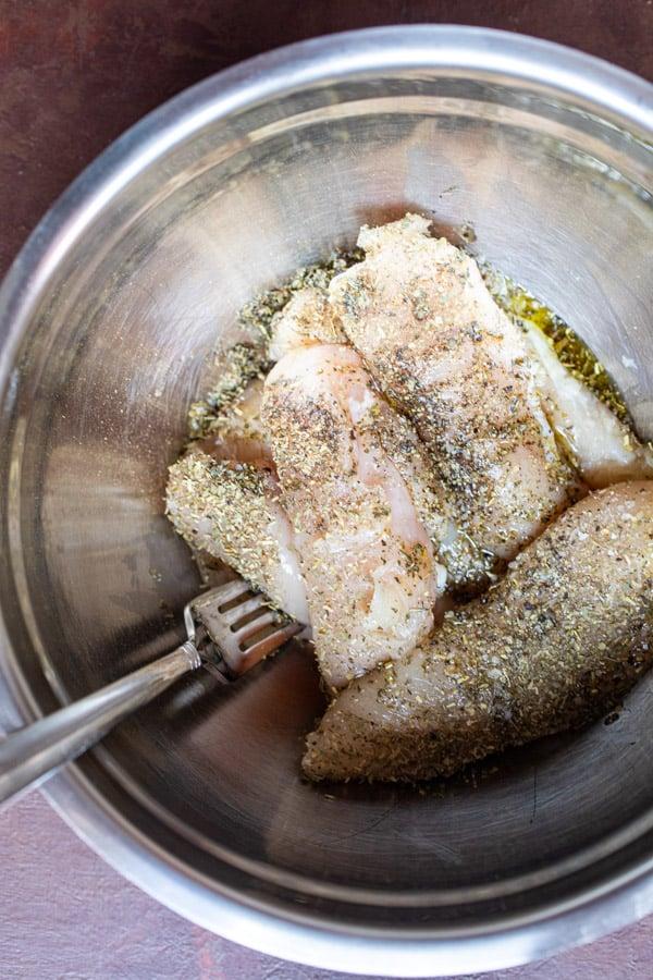 Seasoned chicken strips for chicken alfredo