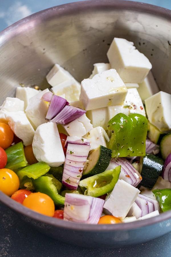 Bowl of veggies and halloumi