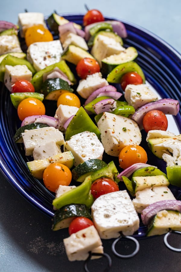 Halloumi Skewers ready for the grill.