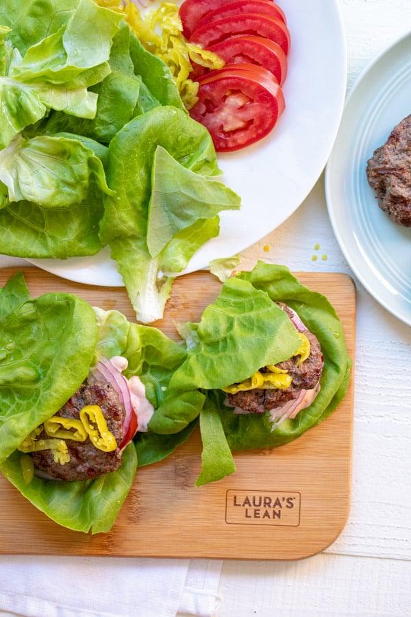 Lettuce Wrap Sliders on cutting board.