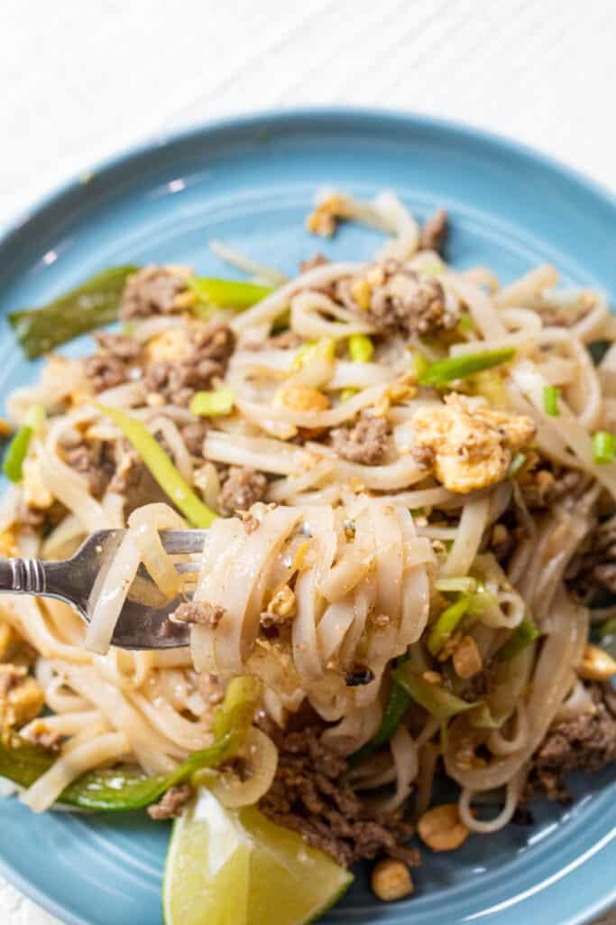 Beef Pad Thai on Fork