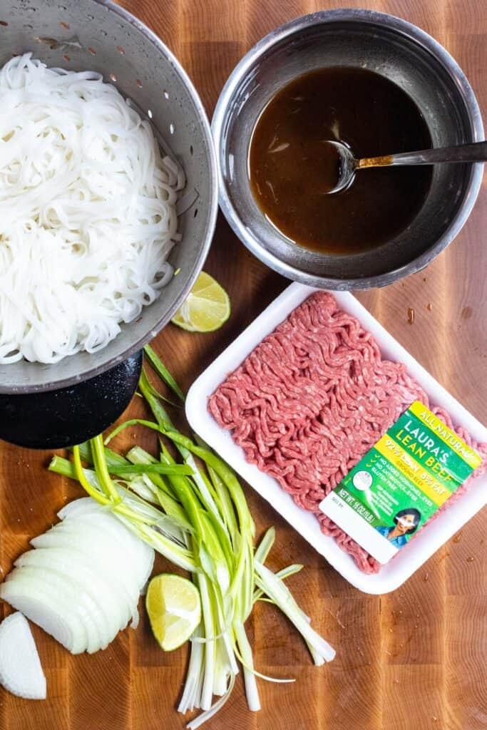 Beef Pad Thai ingredients ready