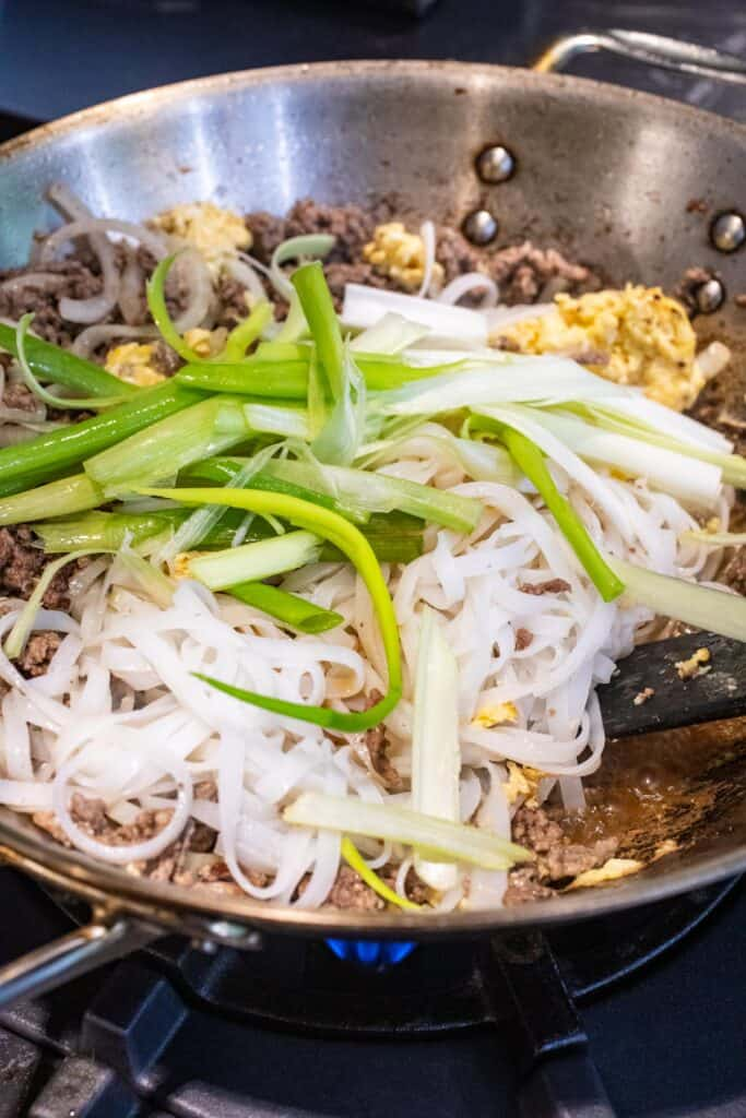 Finishing Beef Pad Thai