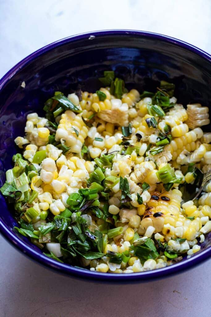 Corn and scallions off the grill and chopped.