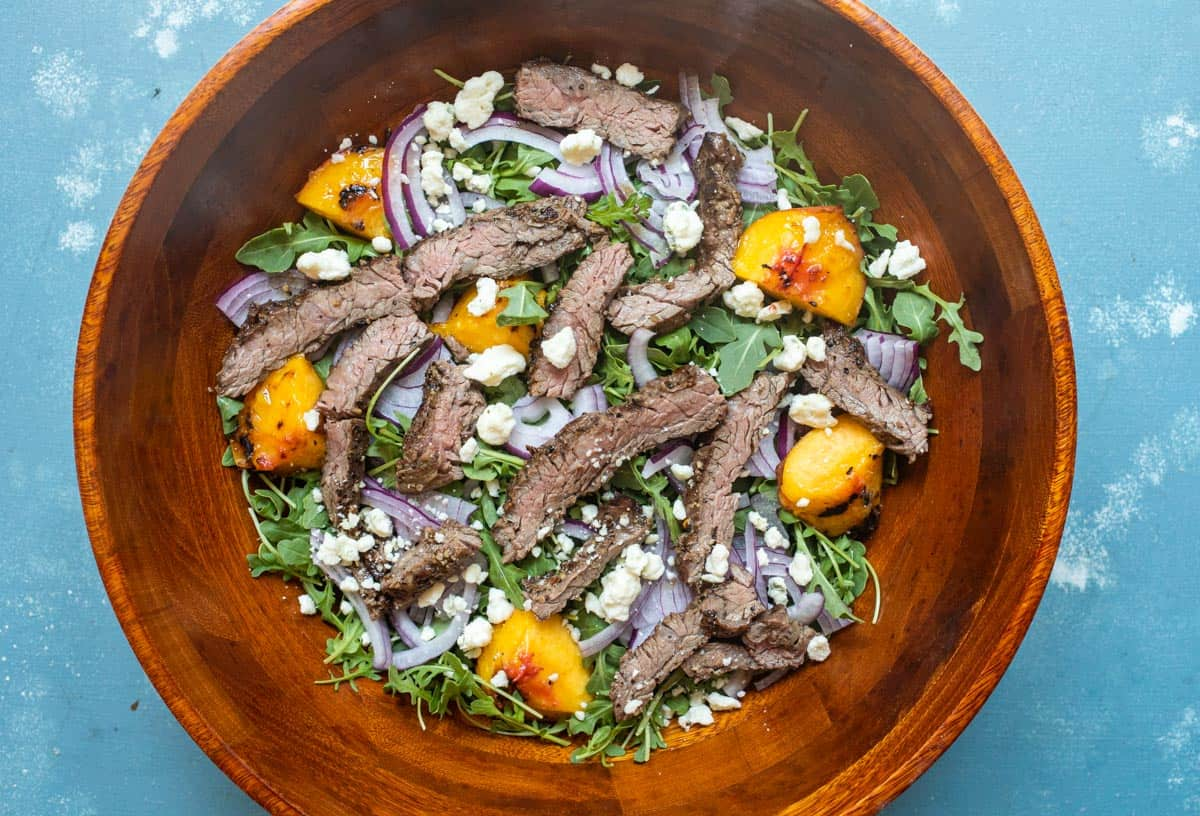 Grilled Steak Salad with Peaches and Blue Cheese