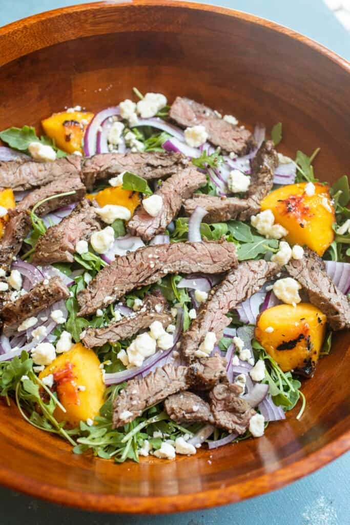 Blue Cheese Steak Salad with Grilled Peaches