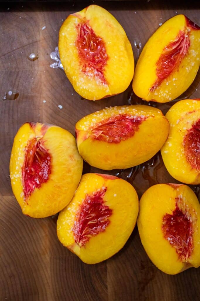 Peaches ready for grilling.