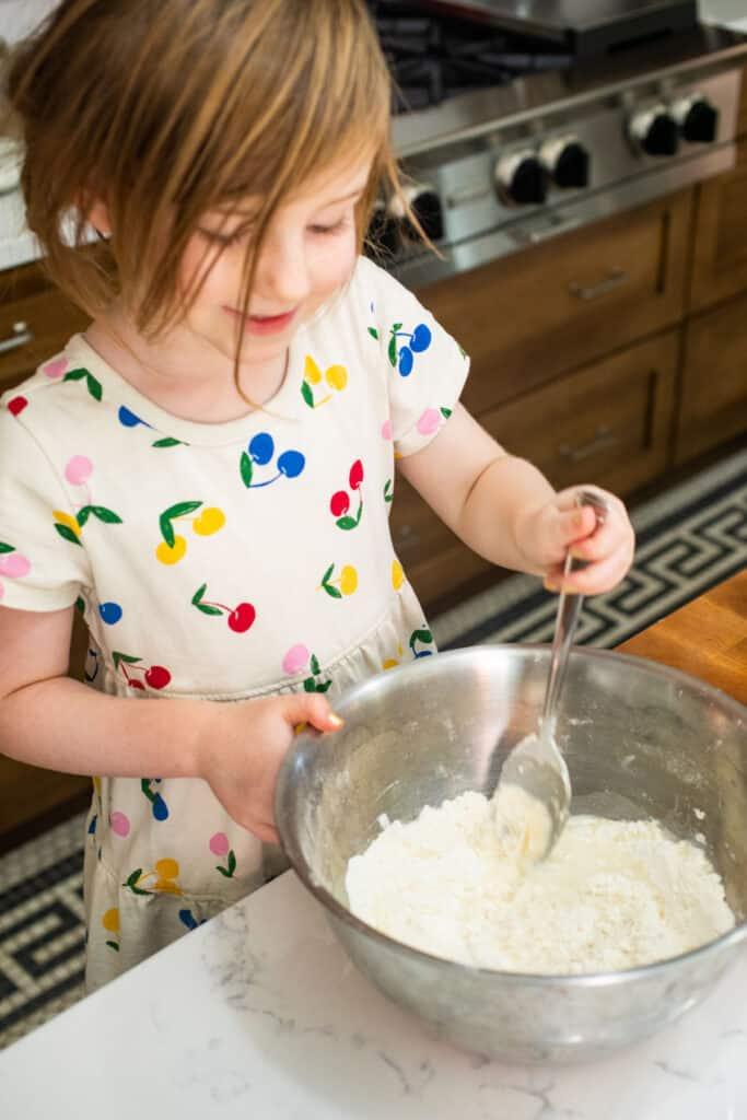 Stirring sopapilla dough