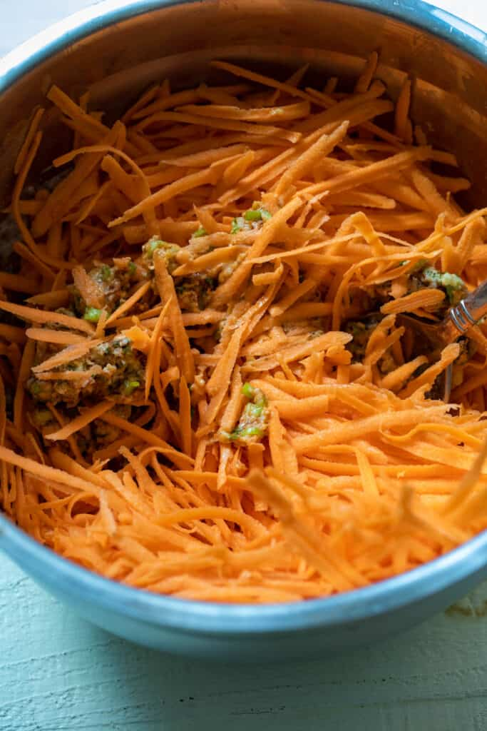 Grated Sweet Potato mixed in.